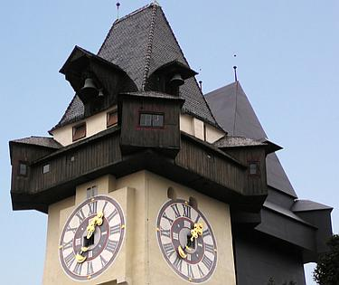 Touristic attractions of Austria : Schlossberg Graz with the Clock Tower