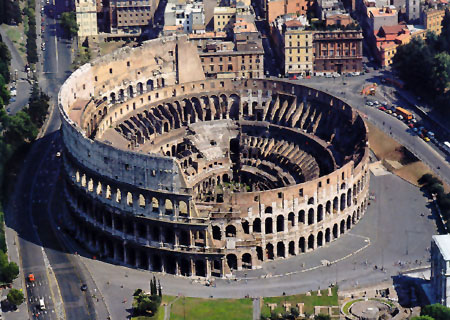 Touristic attractions of Italy : The Colosseum (Roman Coliseum)