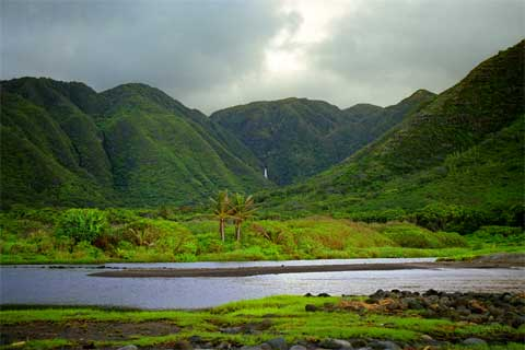 Touristic attractions of Hawaii : Halawa Valley, Molokai