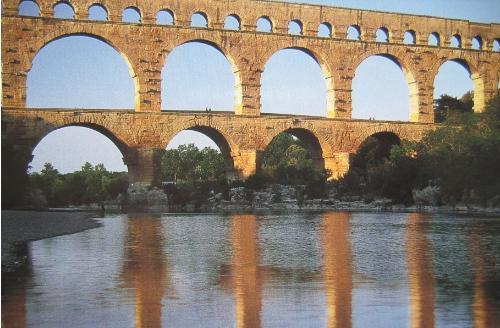 Touristic attractions of Mediterranean : Pont du Gard, Nimes