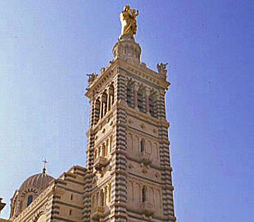 Touristic attractions of Mediterranean : Our Lady of the Guard, Marseille