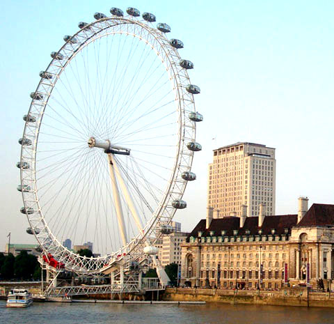 Touristic attractions of London UK : The London Eye